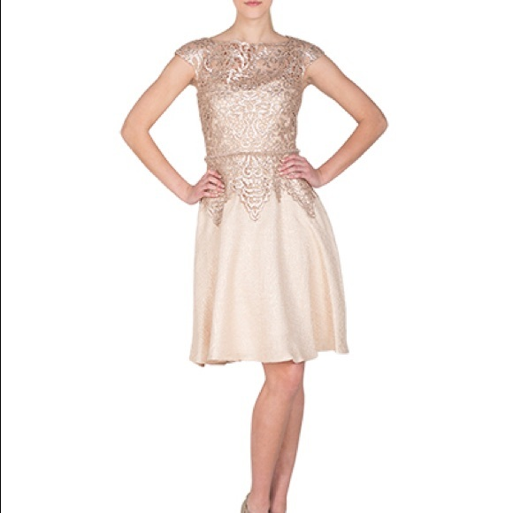 Badgley Mischka Lace And Tweed Cocktail Dress Nwt
